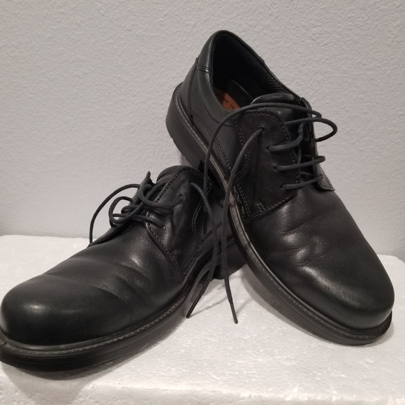 Ecco Mens Black Leather Oxford Shock